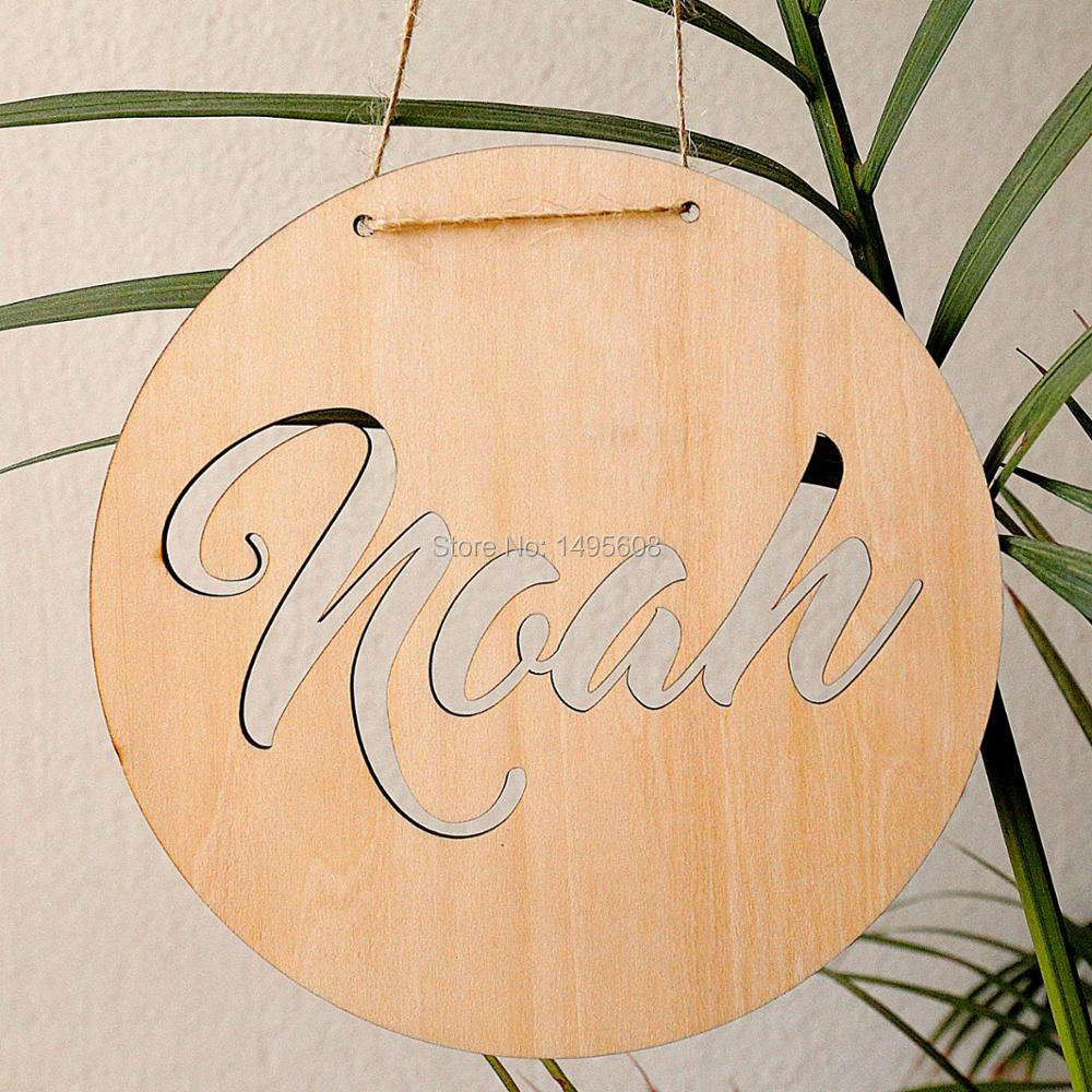 Personalized Wooden wall decor with Name round,party photo booth ...