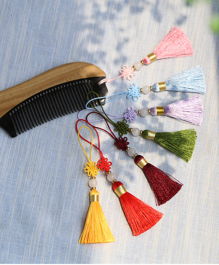 Chinese Knot Tassel with Jade Silk Fringe Bangs Flower Tassel Trim Decorative Garment for Curtains Home Decoration Accessories