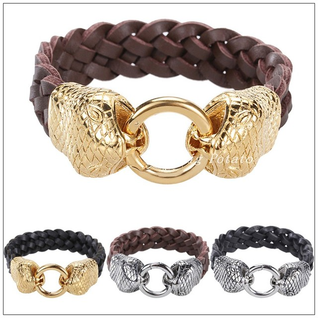 """8.86""""*24mm 78g Free Shipping Men's Jewelry Real Black Brown Leather Bracelet Bangle Silver Gold Stainless Steel Snake Clasp"""