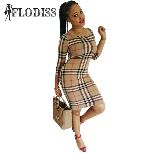Brand New Elegant Work Office Dress 2017 Spring Women Casual Plaid Party Club Dress Ladies O-Neck Half Sleeve Vestido De Festa