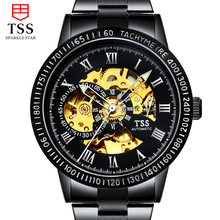TSS genuine fashion men s automatic mechanical watches hollow male table luminous watch waterproof stainless steel