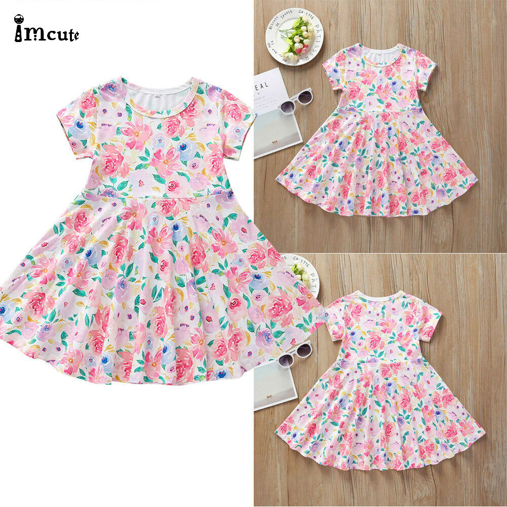 Baby Girls Toddler Dress Summer Leaves Print Sundress 1-5 Years Little Princess Dresses Long Sleeve Loose Skirt