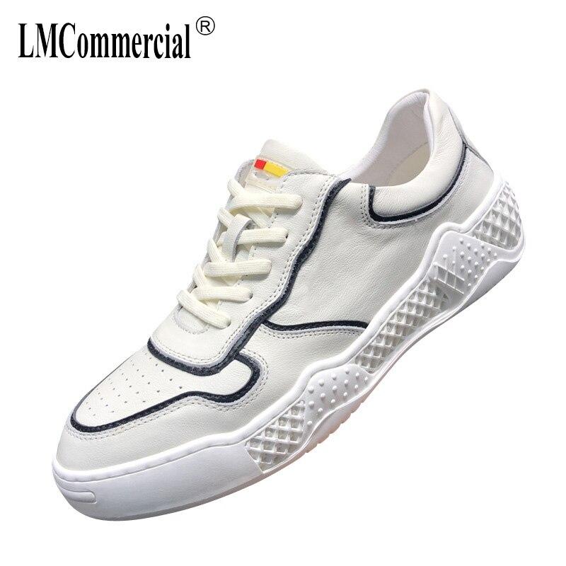 Casuais Preto Fundo Desenhador Sapatos azul Verão Genuínos Macio Primavera Do Branco Sapatilhas Couro Respirável De Homens wXgqSCn6
