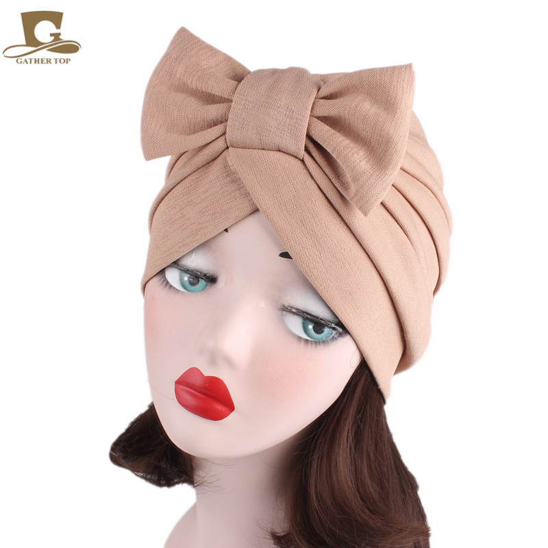 Hot women Big Bow Turban Womens Hats Hair Accessories fashion Beanie Scarf Turban Head Wrap chemo Cap Women Bowknot Hat