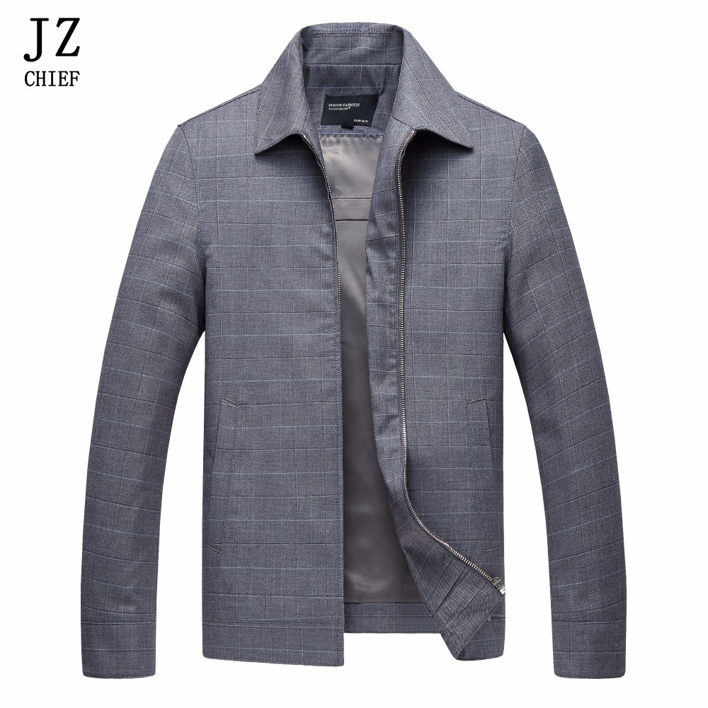 JZ CHIEF Men Jacket Spring 2018 Jackets And Coats Male Wool Coat Blue Plaid Striped Overcoat Casual Work Wear Clothing Gray Coat