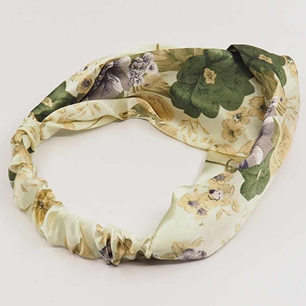 Винтажный богемный широкий узел эластичные повязки на голову Роза цветок тюрбан с узлом женские тканевые повязки на голову головные уборы