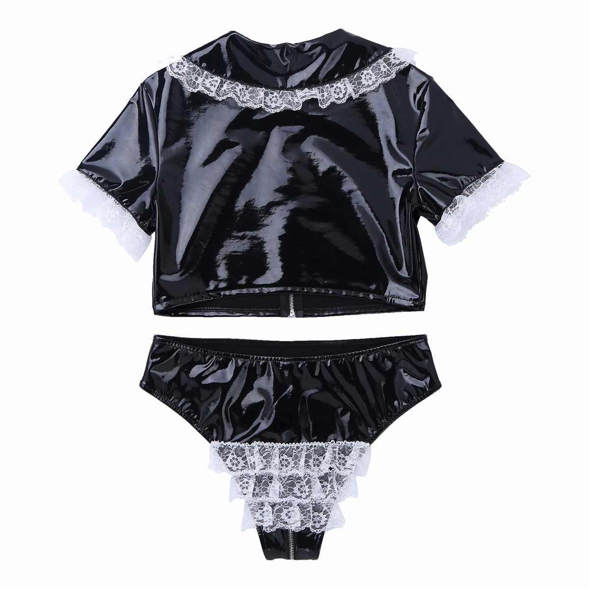 Mulheres de látex pólo dança lingerie terno molhado olhar couro patente colheita superior com zíper virilha cuecas roupa interior quente rave