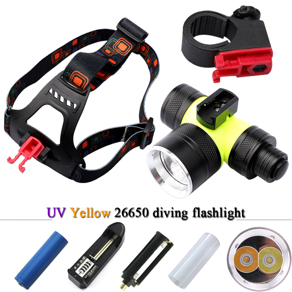 T6 Headlamp Dual Light Source Yellow White Light Diving Headlight Uv Flashlights Headlamps 26650 Waterproof Torch 18650 Battery Strong Packing