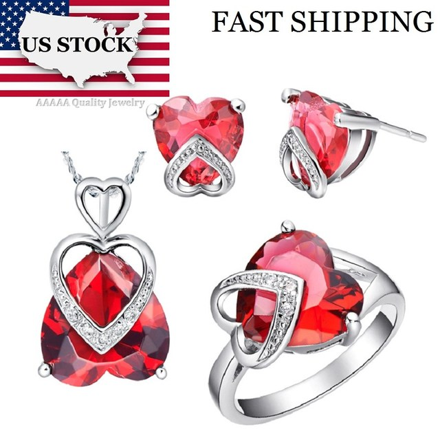 USA STOCK Uloveido Costume Jewelry Sets Love Heart Ring Necklace and Earrings Silver Color Wedding Accessories Bridal Gifts T086