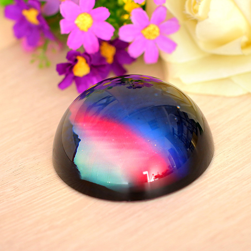 80mm 3D Natural Pattern Decorative Glass Paperweights Crystal Half Sphere Ball Collection Tabletop Souvenir Art Home Decoration