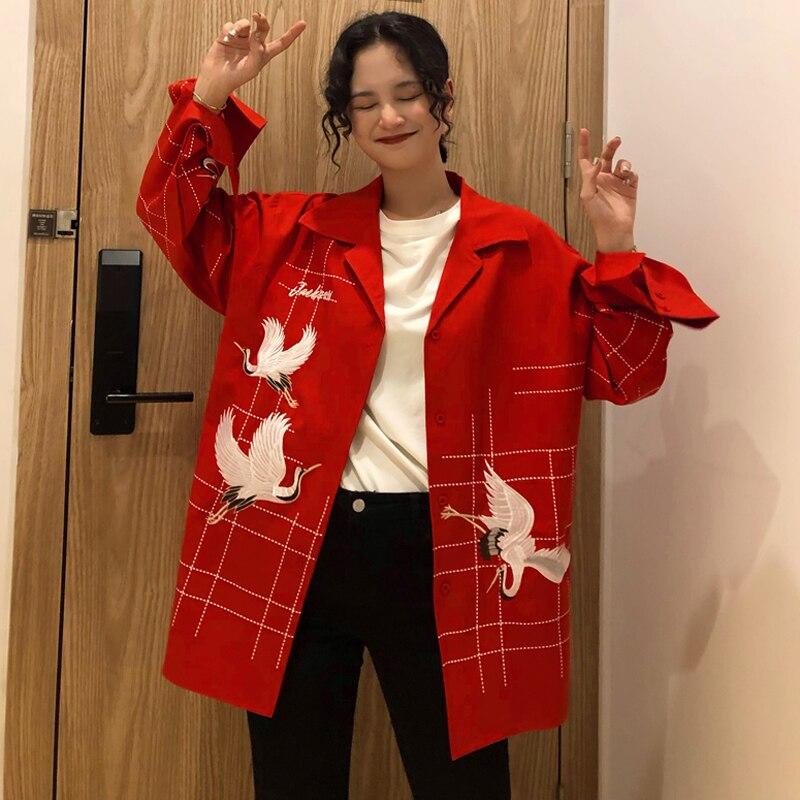2 couleurs Mihoshop Ulzzang coréen corée femmes mode vêtements revers rouge-couronné grue oiseau imprimer à manches longues vestes