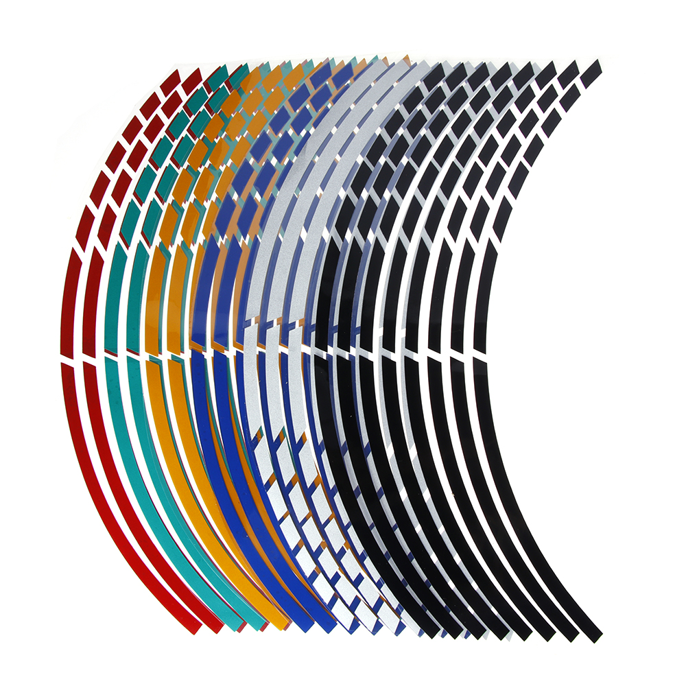 "16Pcs  17""18"" Strips Motorcycle Car Wheel Tire Stickers Reflective Rim Tape Motorbike Auto Decals(China)"
