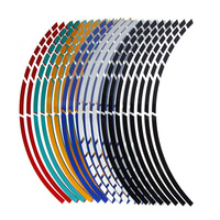 """16Pcs  17""""18"""" Strips Motorcycle Car Wheel Tire Stickers Reflective Rim Tape Motorbike Auto Decals"""