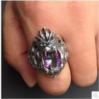 Япония персонализированные серебряный Новинка Серебряный Король Лев рев инкрустированные красочные циркон Львы серебряное кольцо