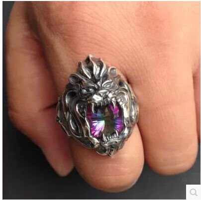 Japan personalized silver the new silver lion king roar inlaid colorful Zircon lions silver ring