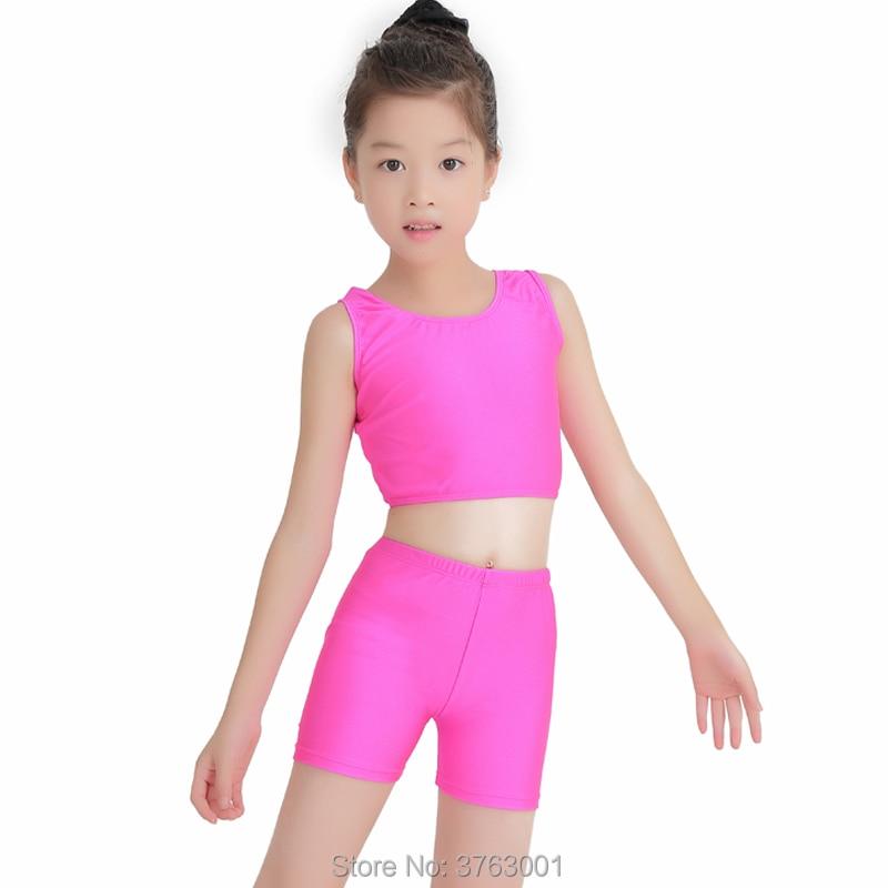 Kids Ballet Leotard Gym Wear Two-piece Dance Suit For Girl Spandex Children's Cheerleaders Vest High Waist Shorts Two Sets Tight