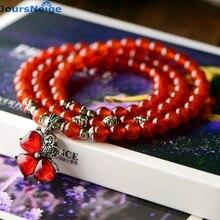 JoursNeige Red Crystal Bracelets Beads 6mm Lucky Tibetan Silver Grass Pendant for Lovers Crystal Bracelet Multilayer Jewelry