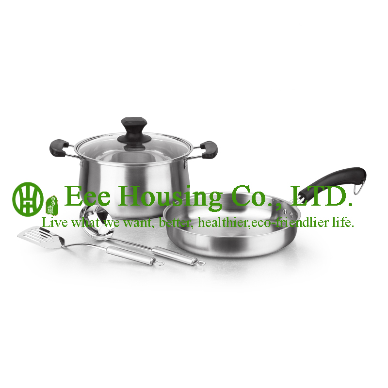 Stainless Steel Cooking Cookware Kitchenware Set Free Shipping Factory Pirce 4 Pieces Fry Pan Wok,Soup Pot,Truner,Spoon Kitchen