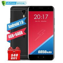 Оригинал Ulefone 2 Мощность Мобильный Телефон 5.5 Дюймов FHD MTK6750T Octa Ядро Android 7.0 4 ГБ + 64 ГБ 16MP 6050 мАч Touch ID 4 Г смартфон