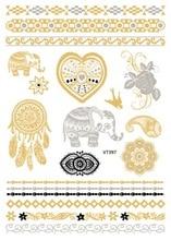 VT397 21X15cm Waterproof Gold Golden Large Tattoo Stickers Indian Designer Flash Tattoos Glitter Temporary Tattoo Elephant