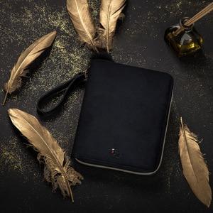 Image 3 - יוקרה Kinbor A6 ספר יומן תיבת מתנת יומן נוסע ברבור שחור קטיפה שחורה מתכנן מחברת רוכסן BJB57 כתיבה יצירתית