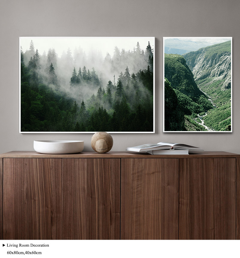 HTB1wIknd8OD3KVjSZFFq6An9pXaG Mountain Foggy Forest Picture Nature Scenery Scandinavian Poster Nordic Decoration Landscape Print Wall Art Canvas Painting