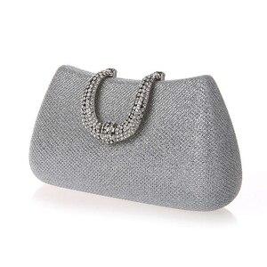 Image 2 - Lüks ay kadınlar kristal U elmas toka el çantası glitter gümüş akşam çantalar altın debriyaj parti çanta kadın çanta
