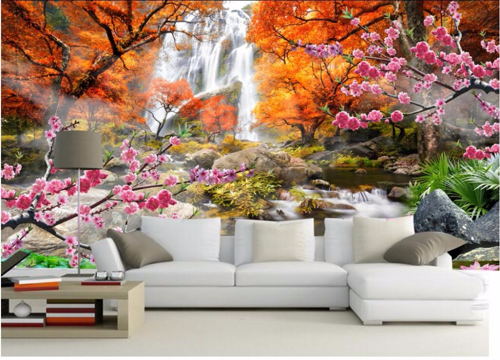 Custom Mural 3d Wallpaper Mountain Waterfall Flowers Home
