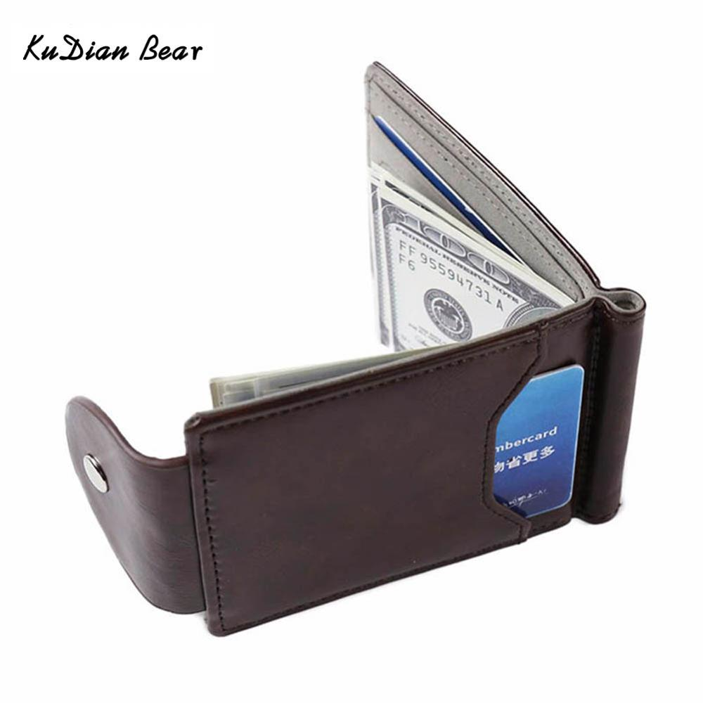 KUDIAN BEAR Men's Money Clip Metal Vintage Leather Wallet Brand Credit ID Holders Money Case Male Bifold Wallets BID128 PM49