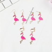 Japan Korean Cute Creative Cartoon Rose Red Flamingo Woman Girls Clips Hook Earrings Fashion Jewelry-LAF