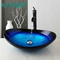KEMAIDI нам Comporary Ванная комната бассейна закаленное Стекло смеситель орб кран водопад умывальник с Pop Up Drain комплект