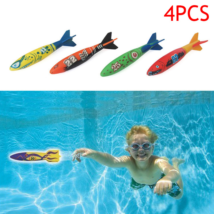 Hot Sel 4 Pcs/Set Children Torpedo Toy Kid Boy Girl Rocket Throw Torpedoes Bandits Toys For Swimming Pool Diving Underwater Game ...