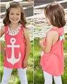 2016 Summer Children Baby Girls Kids Tanks Camis Bow Back Movie Anchor Tops Vest Slim Casual Sleeveless T-Shirt 3 4 5 6 7 Years