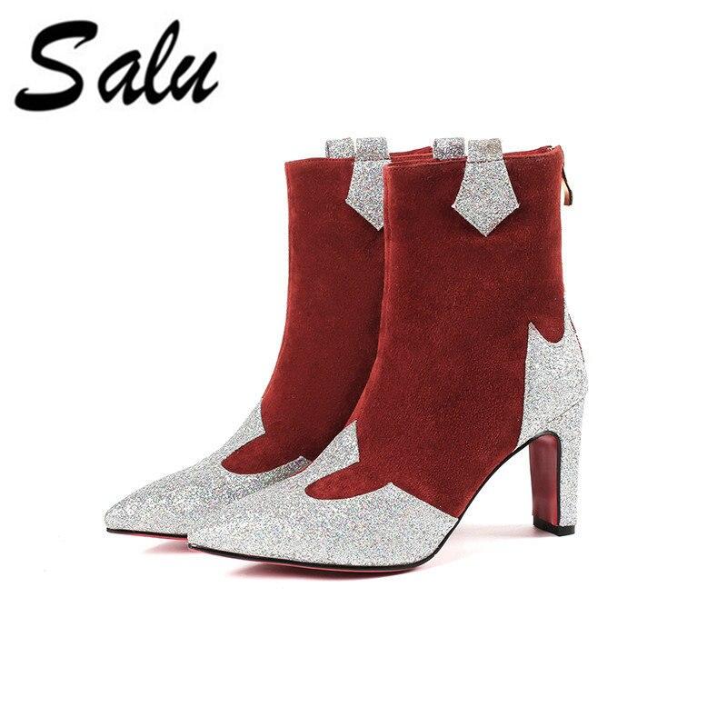Noir Chaussures Haut Mode Conception Automne rouge Marque Bottes Style Bout Talon De Sexy Pointu Femmes Salu Cheville Ie2YHEDW9