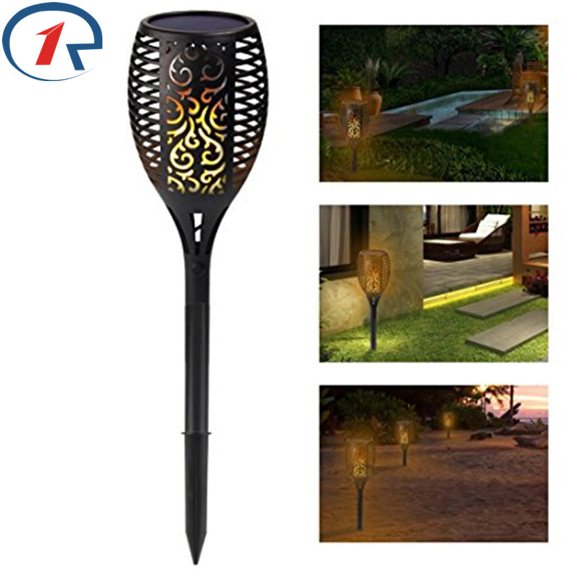ZjRight 96 LED Flame Lamps Solar garden Path Torch Dancing Flickering Light Waterproof Outdoor Landscape restaurant Decor lights