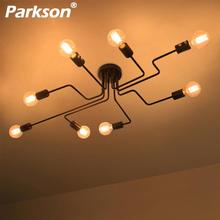 4/6/8 Vintage Pendant Lights Multiple Rod Wrought Iron Ceiling Lamp E27 Bulb Living Room Lamparas for Home Lighting Fixtures zmishibo spider shape 8 12 16 heads e27 110v 220v pendant lamp black iron ceiling droplights for living room lighting fixtures