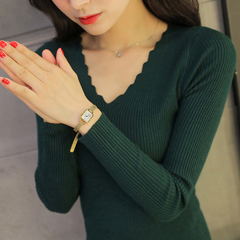Sueter Mujer Invierno  Spring Autumn Winter Women Sweaters And Pullovers Sexy V Neck Long Sleeve Solid Slim Pull Femme