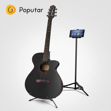 Poputar P1 40 pouces Smart App-Contrôlée Bois Folk Guitare Avec Sac/Capo/Picks/Cordes/ holde