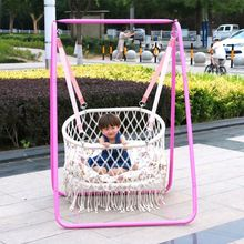 Nordic Style Handmade Round White Hammock Outdoor Furniture Bedroom Baby Kids Hanging Chair Child Safety Swing