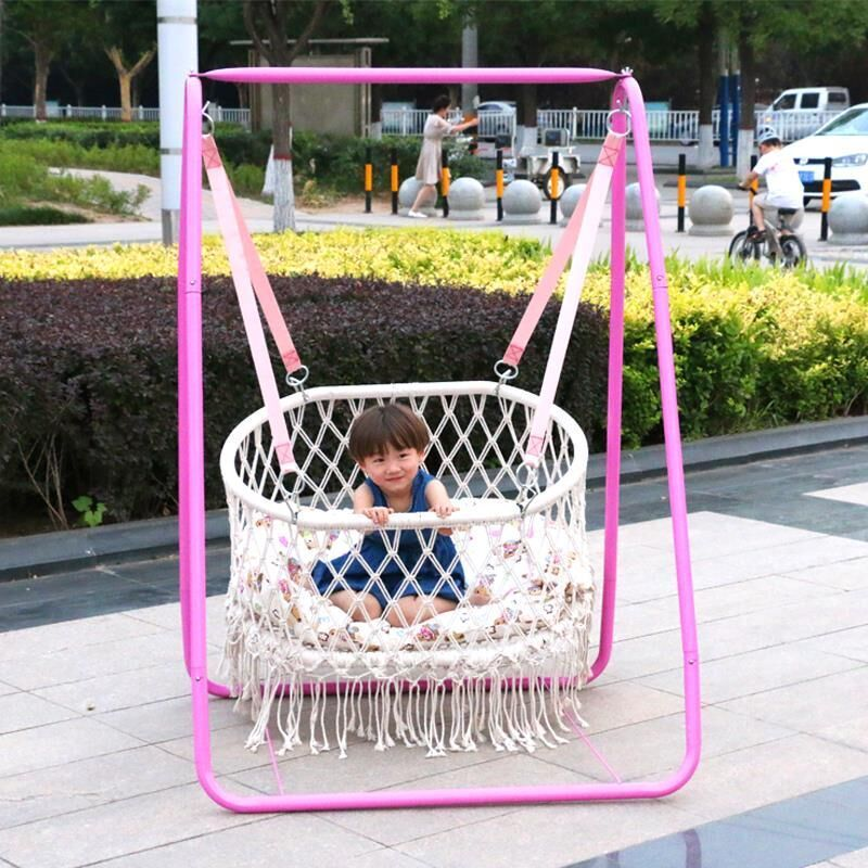 Nordic Style Handmade Round White Hammock Outdoor Furniture Bedroom Baby Kids Hanging Chair Child Safety Swing Hammock