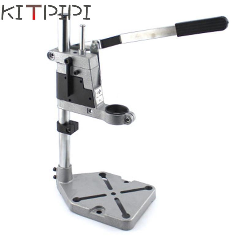 KITPIPI Adjustable Drill Stand Aluminum Workbench Repair Tools Universal Bench Clamp Drilling Press Stand Hand Manual Bench Vise