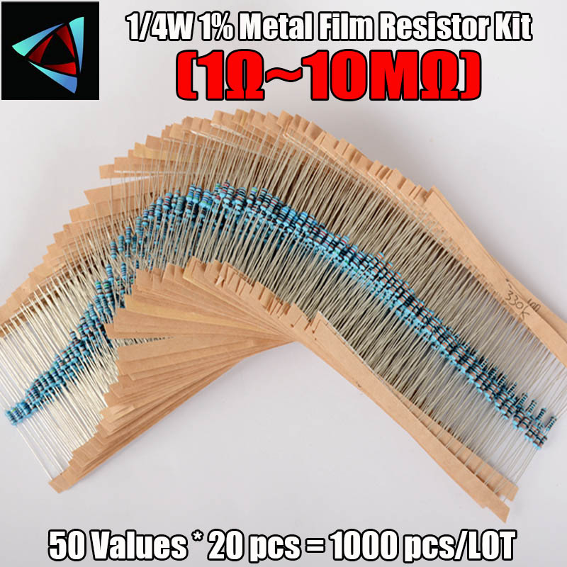 1000 Pcs 50 Values 1/4W Metal Film Resistors Resistance Assortment Kit Set 1% Film Resistor Kits New Electric