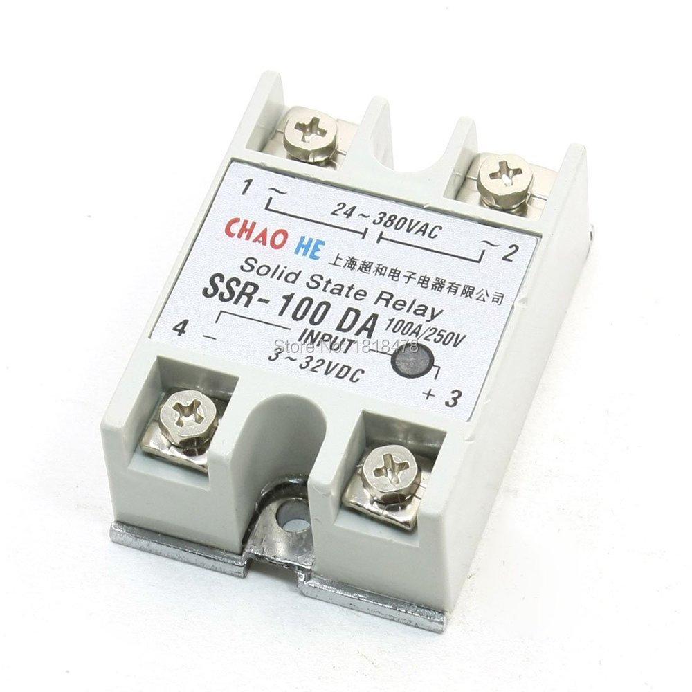 SSR-100DA Temperature Control AC 24V-380V Output Solid State Relay 100A SSR100DA normally open single phase solid state relay ssr mgr 1 d48120 120a control dc ac 24 480v