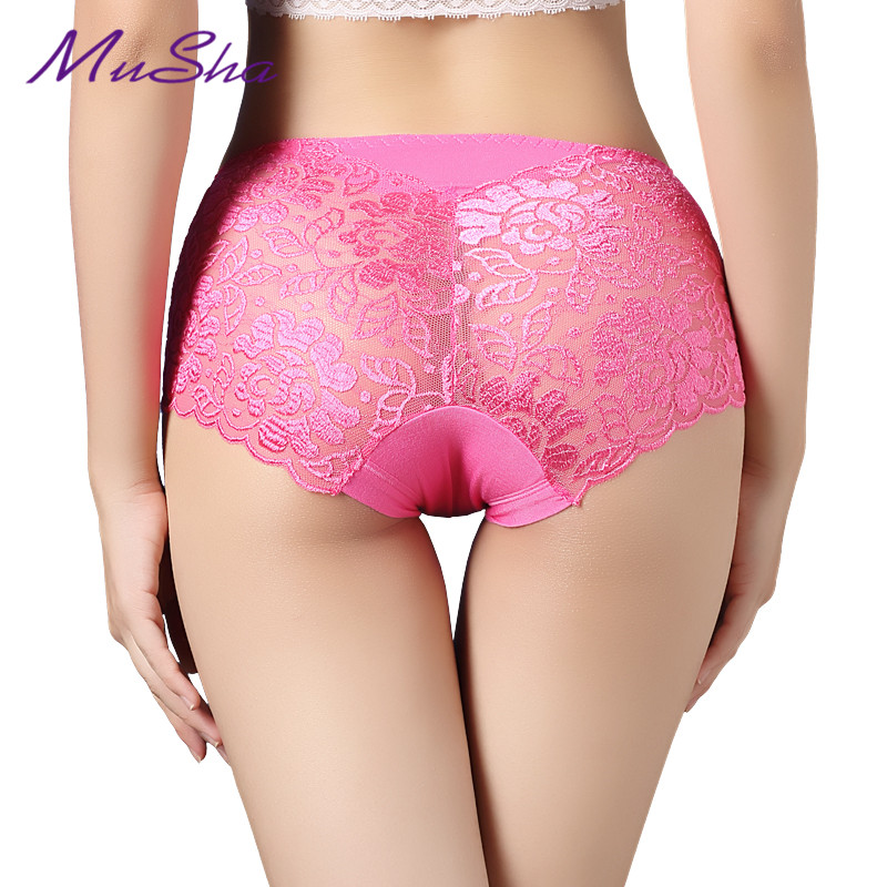 Women underwear briefs sexy women's panties full transparent lace seamless plus size string panty underwear women