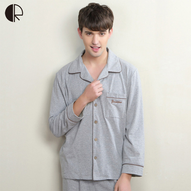 2016 New Arrival Men's Spring Autumn High Quality 100% Cotton Casual Pajama Sets Couple Sleepwear Free Shipping WI413
