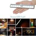 10 PIR Montion Sensor Led SMD3528 Luz Del Gabinete Armario Armario de Luz Alimentado por 4 * AAA Batería Inalámbrica Luces Blanco/Blanco cálido