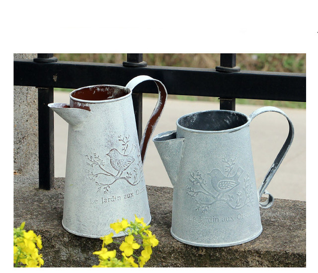 1pc Z Home Gardening Watering Can Iron Ornaments Retro Old Metal Craft Flower Tin Vase Jl 005