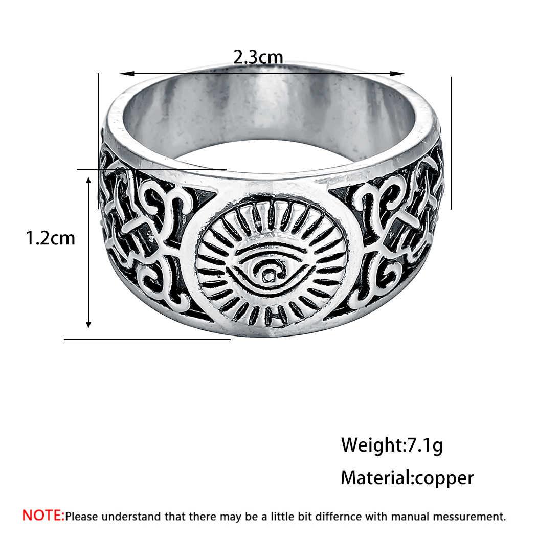 Cxwind Punk Men Retro แหวนเครื่องประดับไวกิ้ง Kolovrat Runes ดอกไม้ Eye ดาบเข็มทิศสไตล์แหวนนิ้วมือผู้หญิงเครื่องประดับ