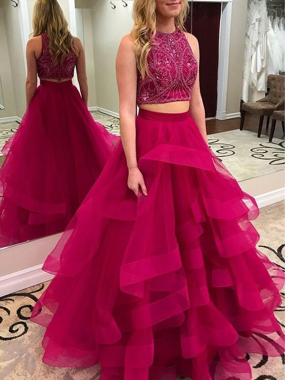 Newest Two Pieces   Prom     Dresses   2019 vestidos de noche Beaded High Neck Hot Pink Evening Party Gown