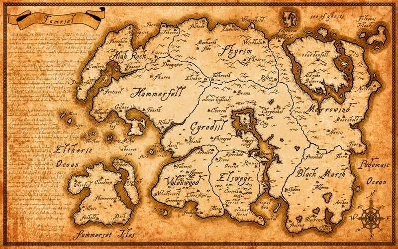HD a spruzzo immagine mappa di Tamriel su olio della tela di canapa per living room decor e di arte della parete poster